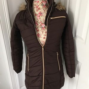Hawke & Co Outfitters brown faux fur hooded puffer